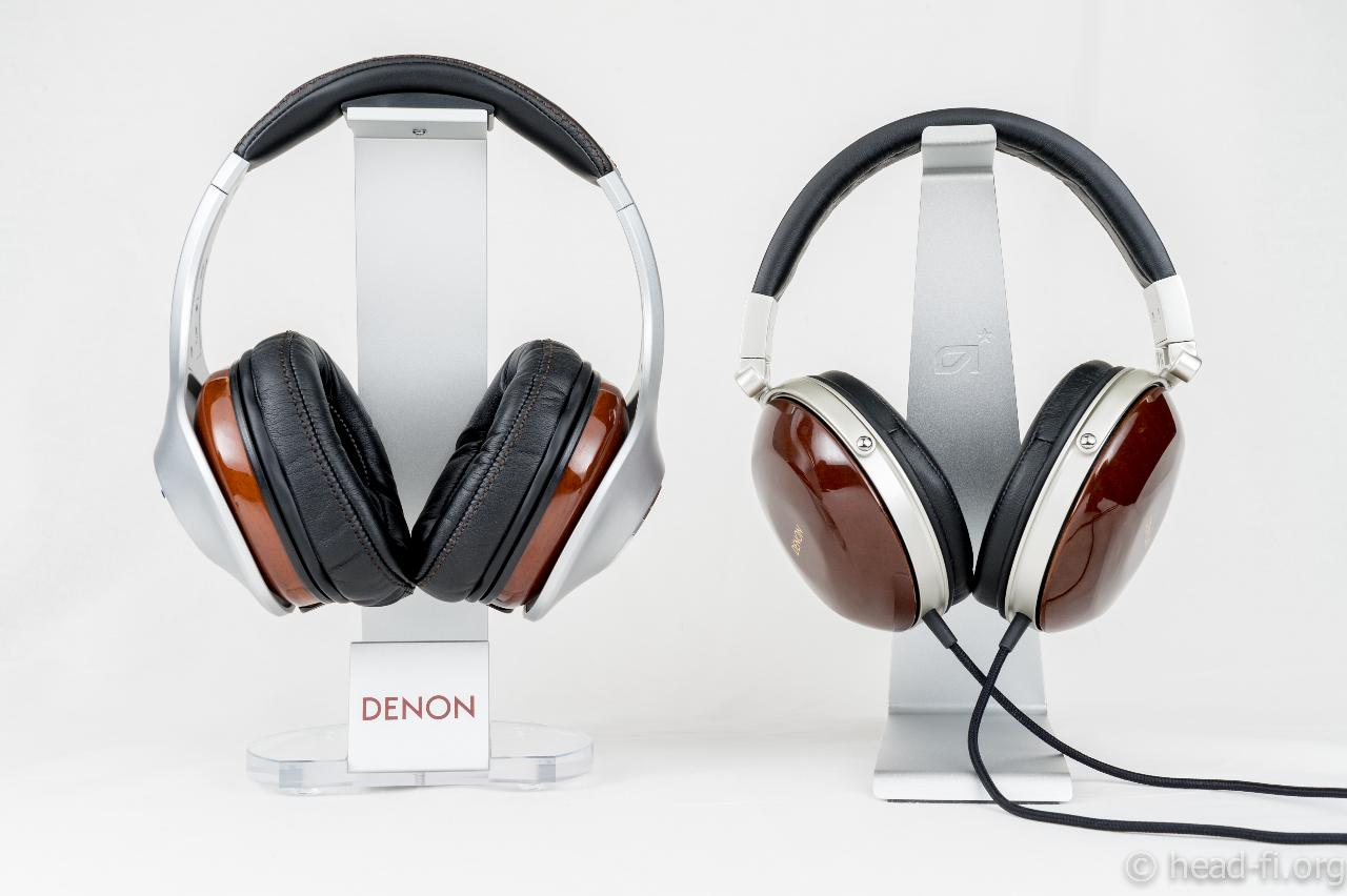 Pre-production sample Denon AH-D7100 Artisan next to Denon AH-D7000 for size comparison.
