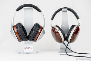 Pre-production sample Denon AH-D7100 Artisan next to Denon AH-D7000 for size comparison.