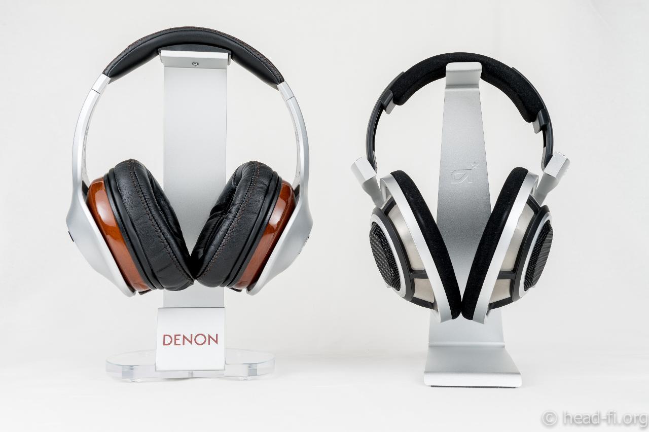 Pre-production sample Denon AH-D7100 Artisan next to Sennheiser HD 800 for size comparison.