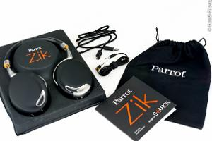 The Parrot Zik (by Philippe Starck) comes with a micro-USB cable for charging, an audio cable...