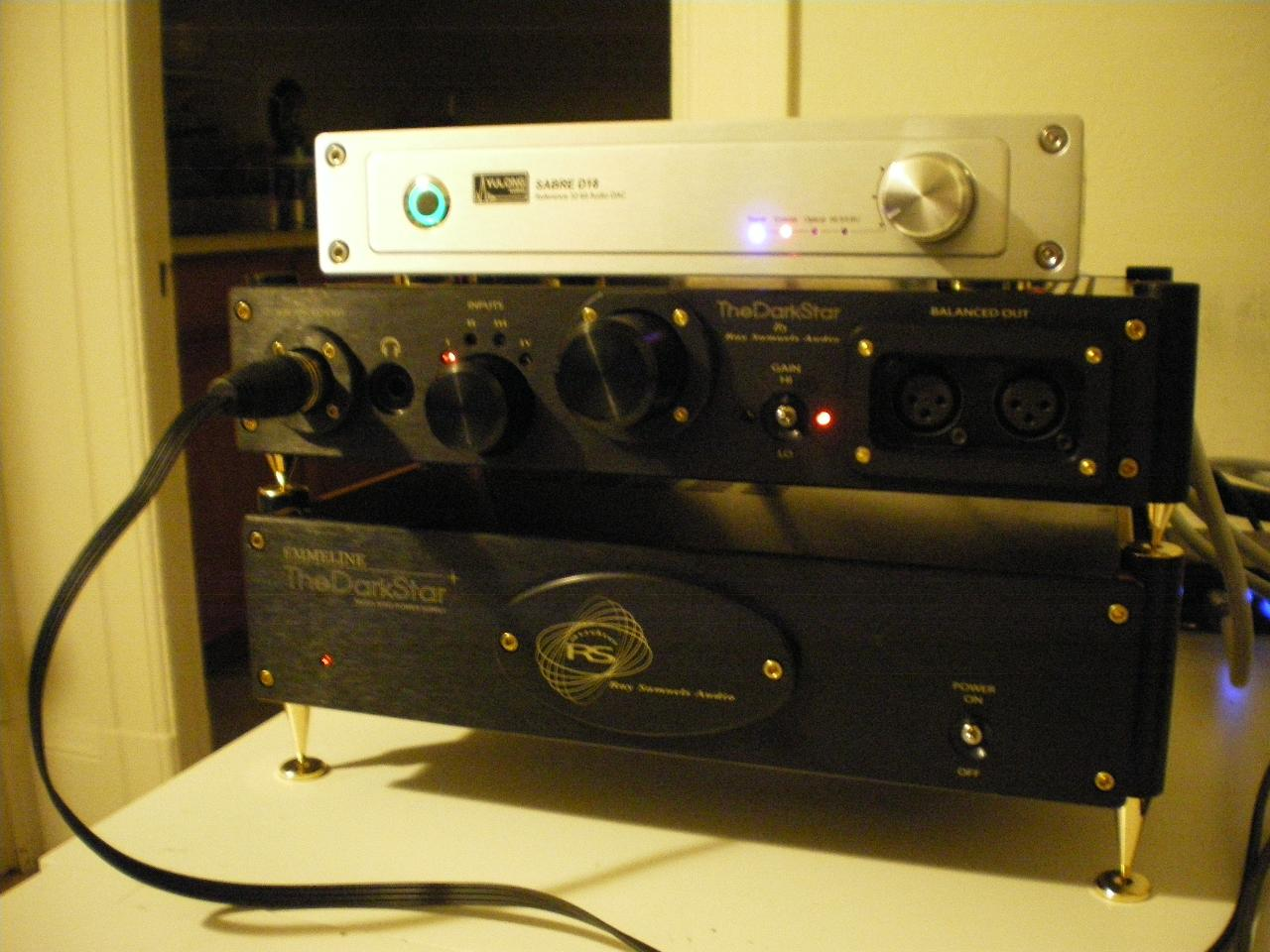 RSA the 'Dark Star' Headphone Amplifier, and Yulong Sabre D-18 DAC.