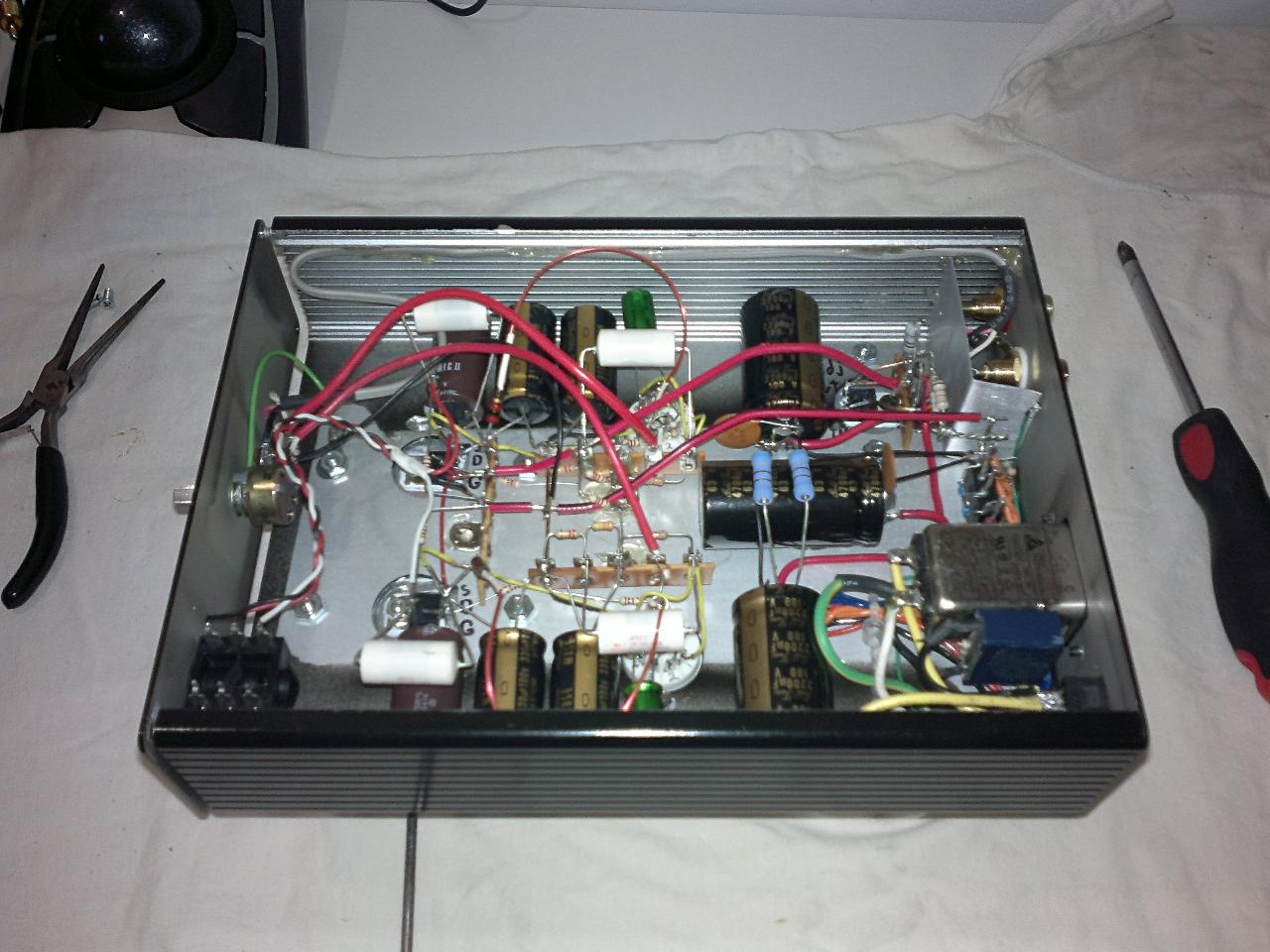 "My Millett ""Starving Student"" Hybrid, complete and working circuit. I designed a 48v..."