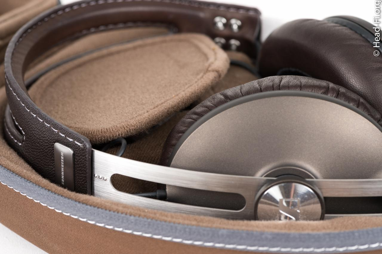 This closeup shot shows the MOMENTUM's beautiful stitched leather headband (and it is real...