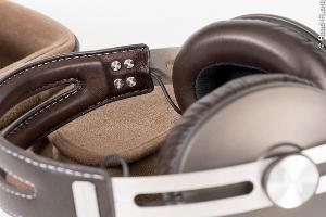 This closeup shot shows the inside of the MOMENTUM's beautiful stitched leather headband (and it...