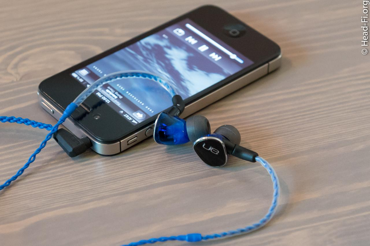 The Ultimate Ears UE900 with its blue three-button remote/mic cable, plugged directly into an...