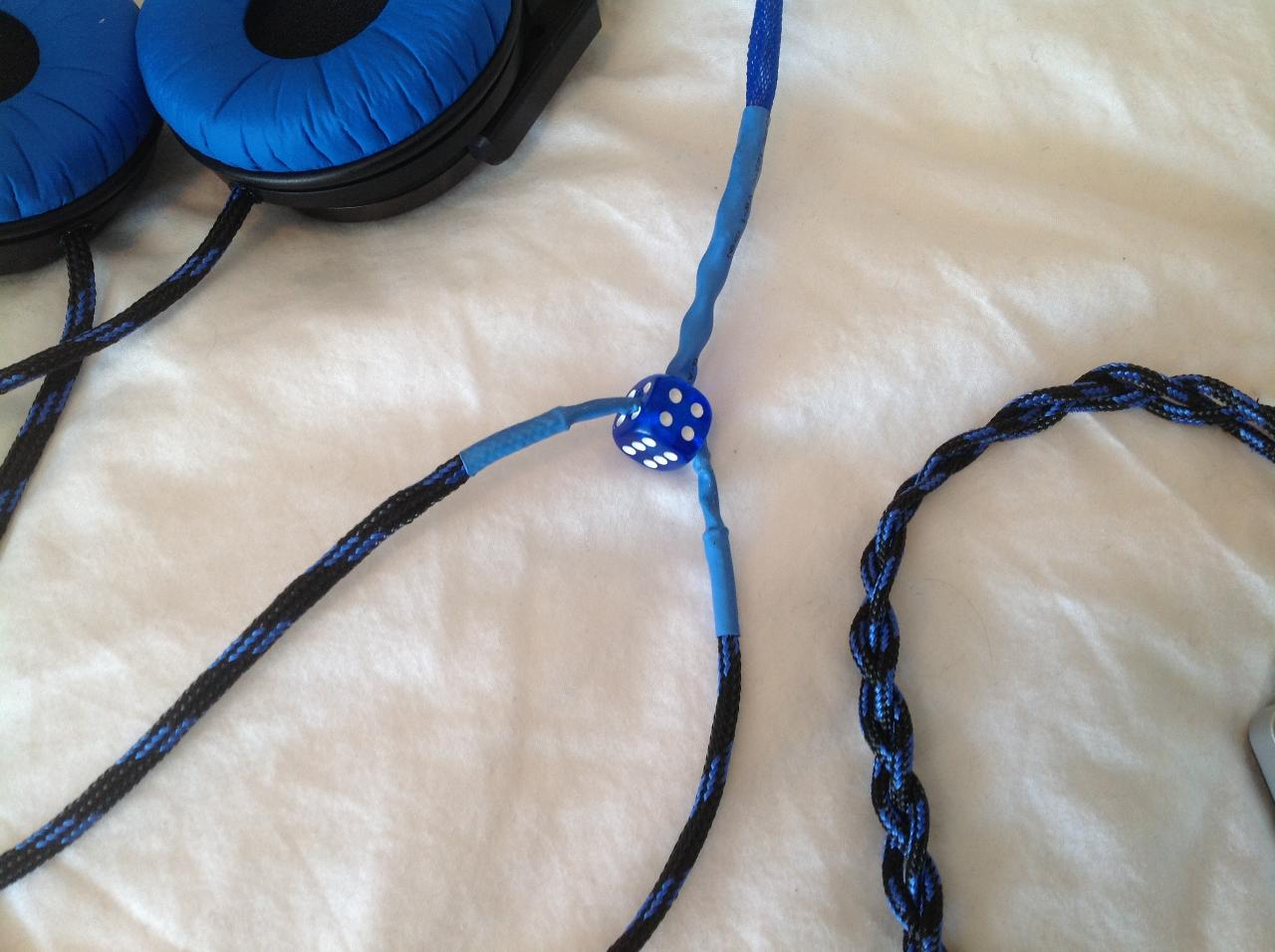 """Used a blue translucent dice as my """"Y"""" splitter fo the cable.  Just drilled through..."""