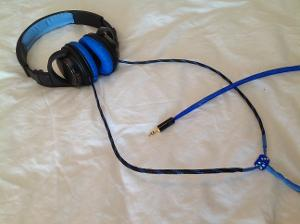 Shot of completed recable of my HA-S500 by JVC.  Blue pleather pads by Sennheiser for HD25...