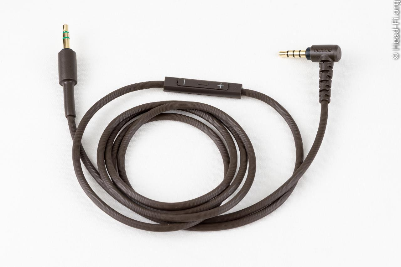 A closeup of the Sony MDR-1R's included three-button inline remote/mic cable.