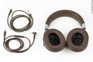 The Sony MDR-1R with the two cables it comes with. One cable has a three-button inline...