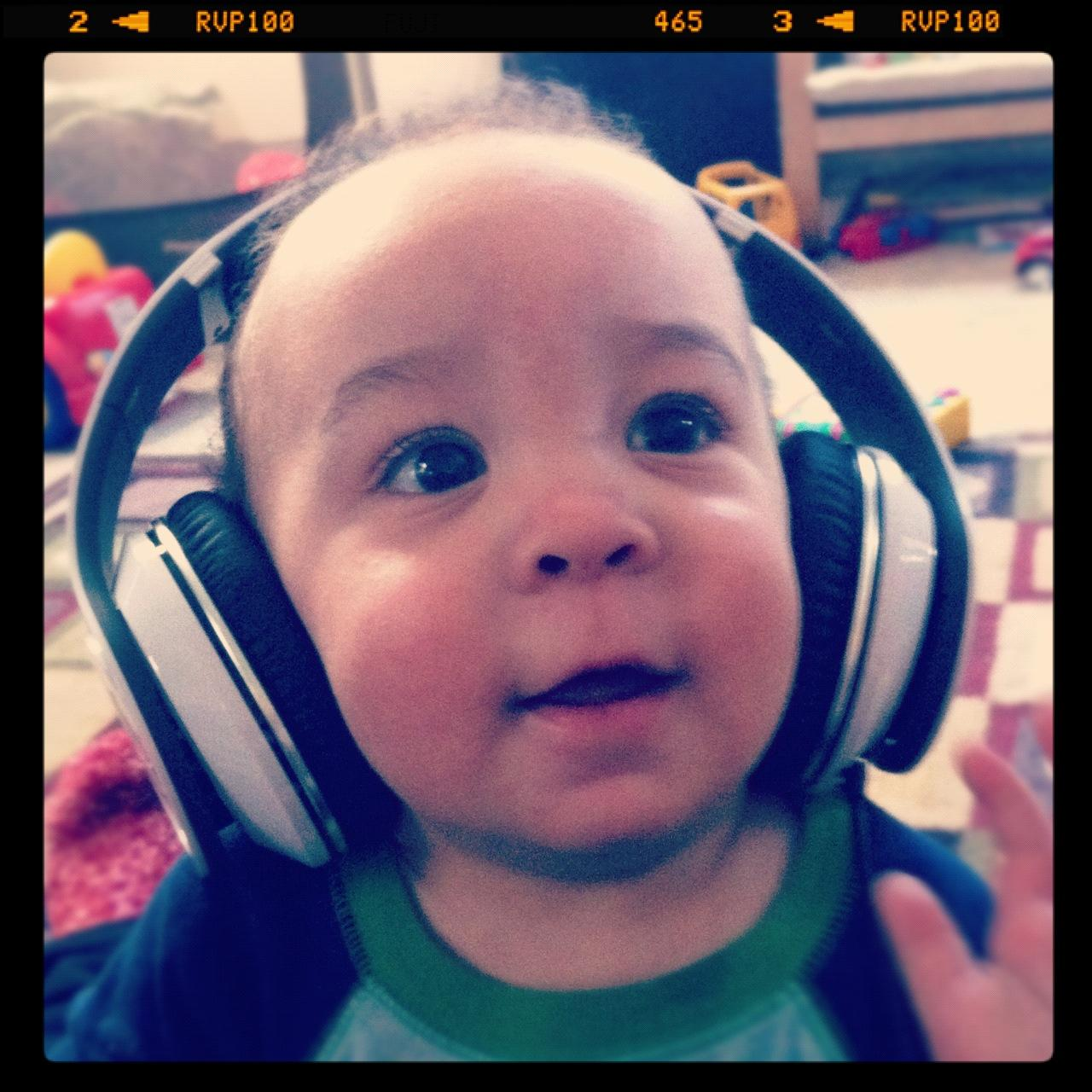I tried to tell my baby beats aren't that great but he's a slave to style already.....