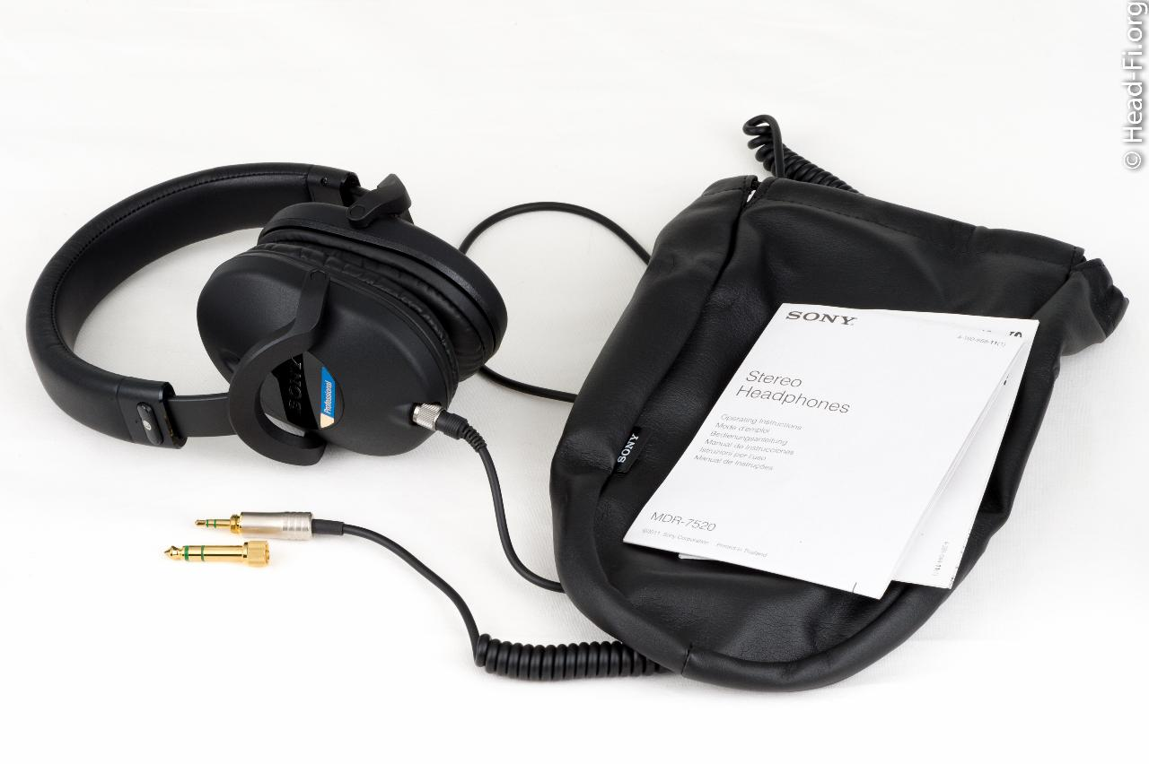 "Sony MDR-7520 with its 1/4"" adapter, carrying pouch and documentation."