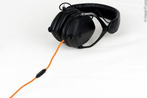 V-MODA M-100. I love the matte black design, combined with the orange cable.