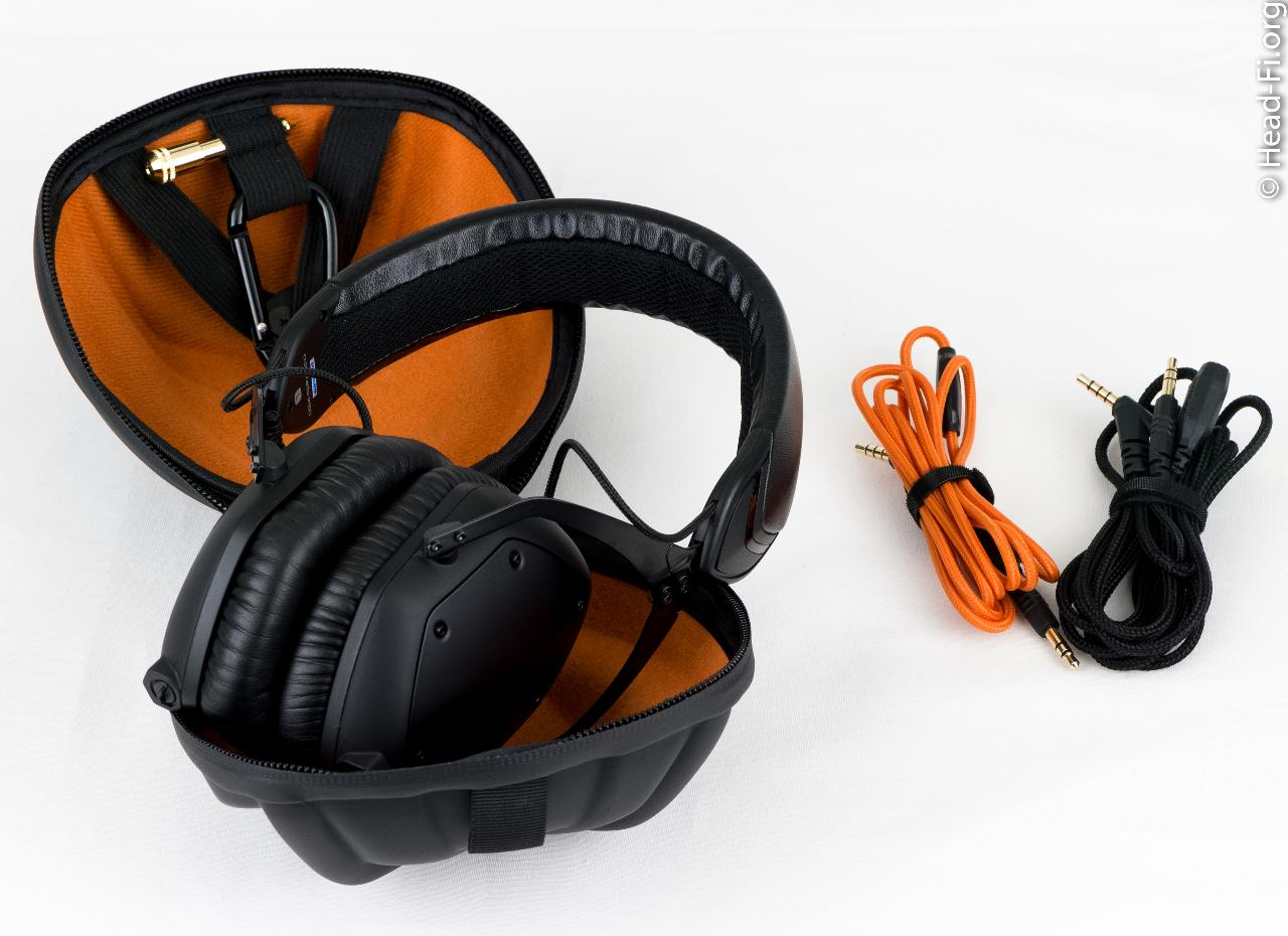 The V-MODA M-100 with its hard carrying case, and its orange mic/remote cable, and black...