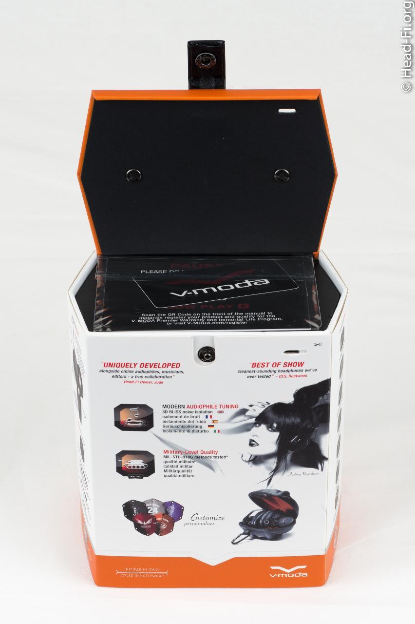 V-MODA M-100 box, opened up.