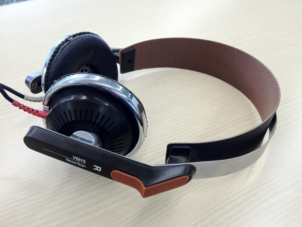 A vintage pair of orthodynamic headphones.