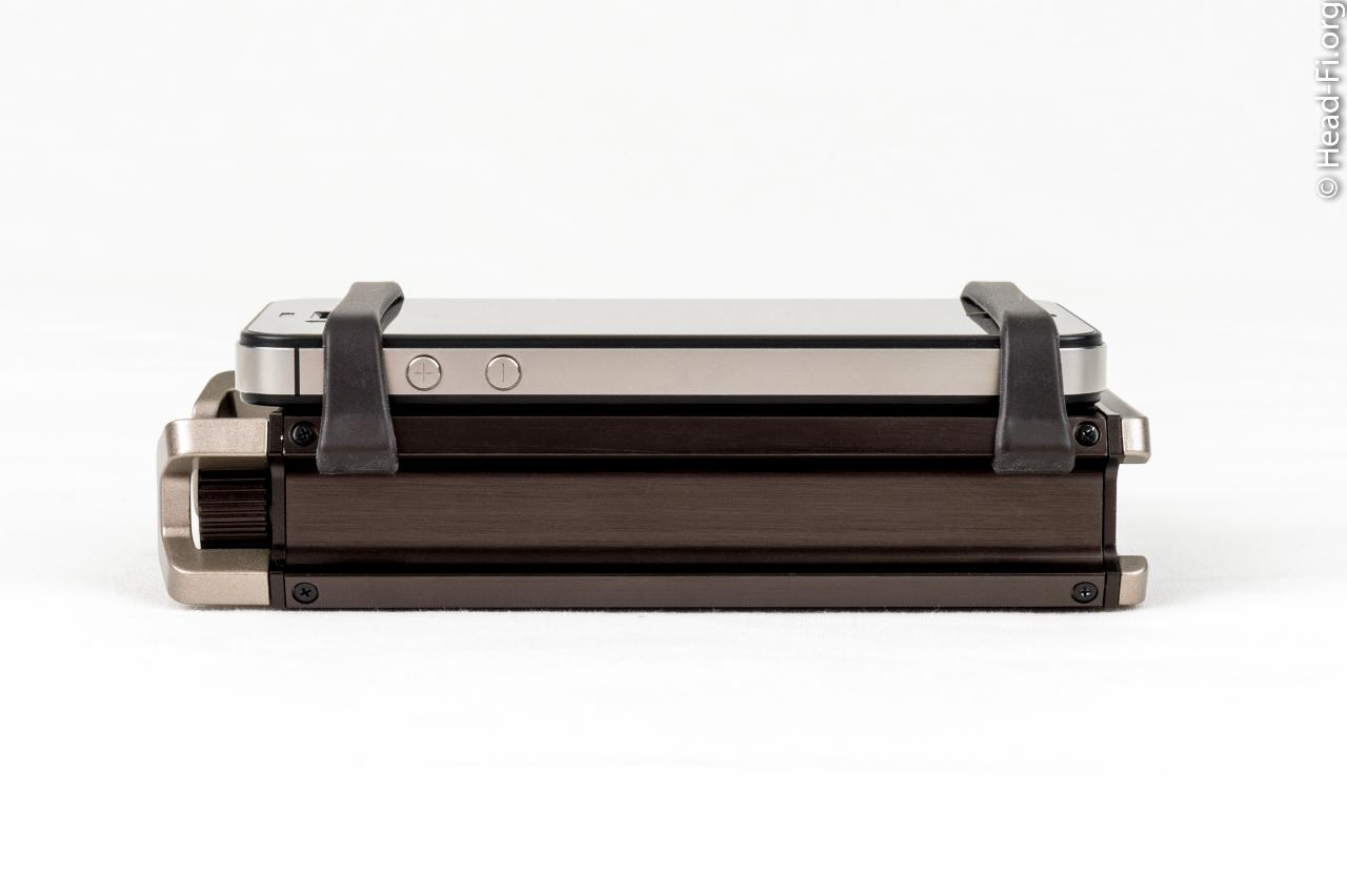 The Sony PHA-1 right-side view, with an Apple iPhone 4S lashed to it with the PHA-1's rail...