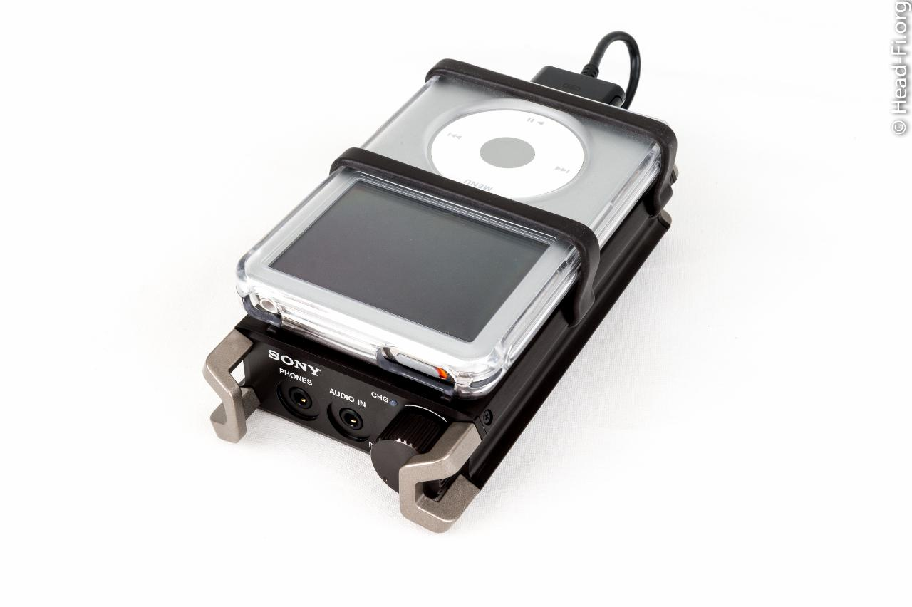 The Sony PHA-1 top-right-front view, with an Apple iPod Classic 160GB lashed to it with the...