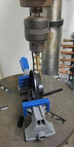 Drill press at work.