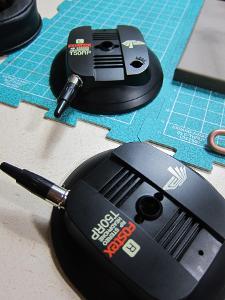 Mini tank battle!  Used mini-XLR plugs to help align properly while gluing.