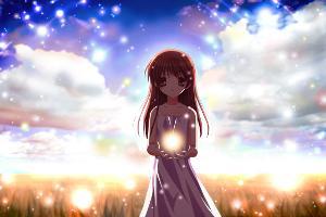 Konachan.com - 62474 brown_hair clannad dress illusionary_girl long_hair summer_dress.jpg
