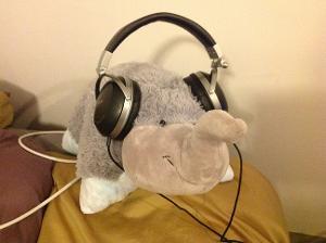 Elephant with headphones