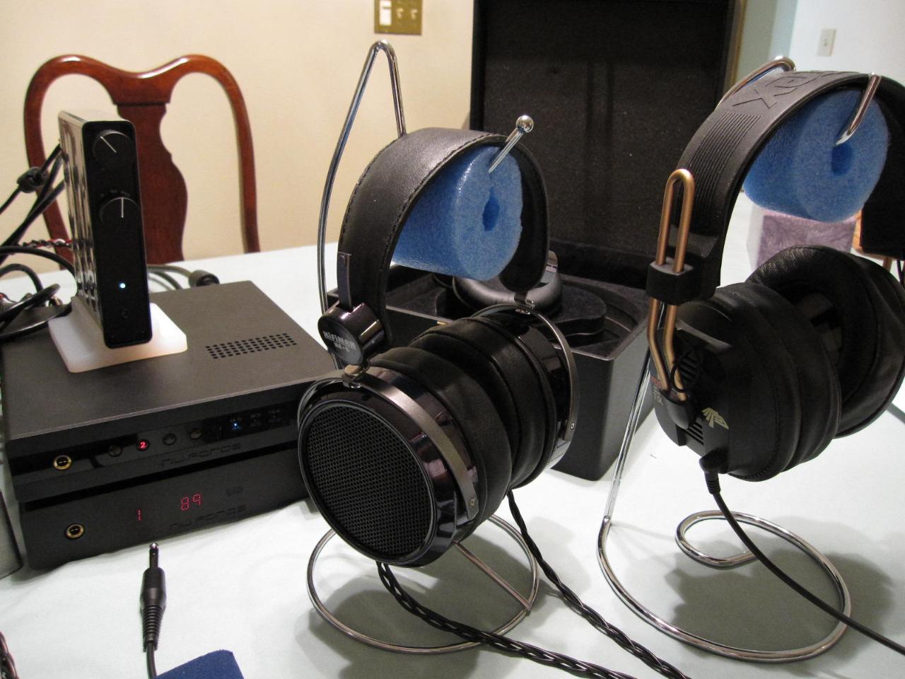 HE-6 w/J$ Beyer pads, next to a modded Foxtex T50rp w/J$ Beyer pads