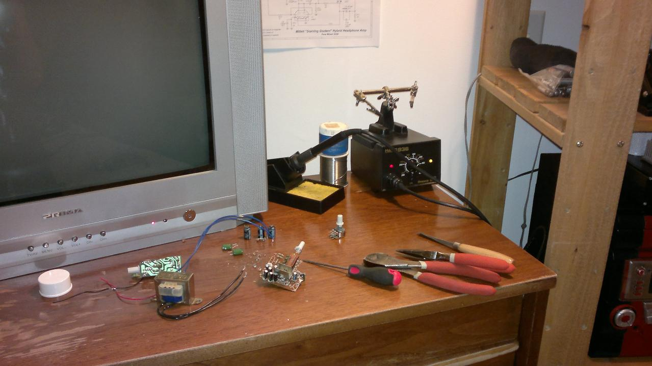 My soldering corner. Just recently bought a fake Hakko 936 soldering station, thinking it was...