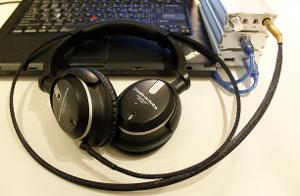 The iFi stack complete with headphone and new cable.  Normally I place the stack to the left,...