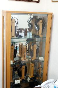 The current Stax range on display at the Stax factory.