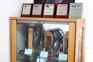 """Awards given to Stax and three of their most famous models: The SR-4070, SR-007 """"Omega II"""" and..."""