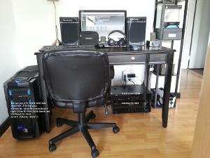 Computer Desk Setup Labeled: Wharfedale Diamond 7.1 Bookshelves Core i7 PC with E-MU 1212m PCI...