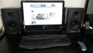 Computer Desk with Wharfedale Diamond 7.1 Bookshelf speakers
