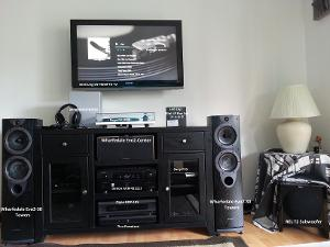 Living Room Setup Labeled: Wharfedale Evo2-30 Towers Wharfedale Evo2-Center Channel REL T2...