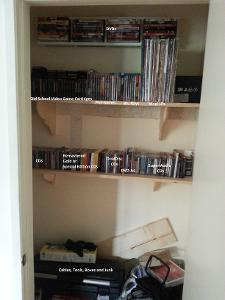 Media Closet Unfinished - Labeled: SACDs DVD-As DualDisc CDs Special Edition CDs Regualar...