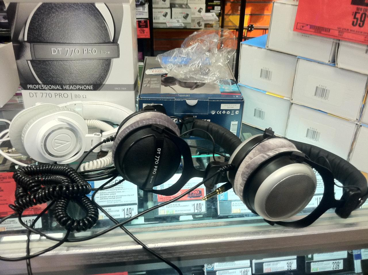 Tools for the pros. The M50s are mine. Middle are the Beyerdynamic DT770 Pro 80s, and the right...