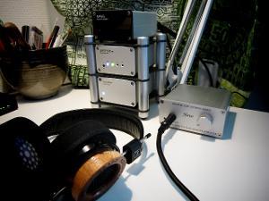 My Headphone setup. From computer: Asus Xonar DGX → Firestone Audio Spitfire MkII (with...