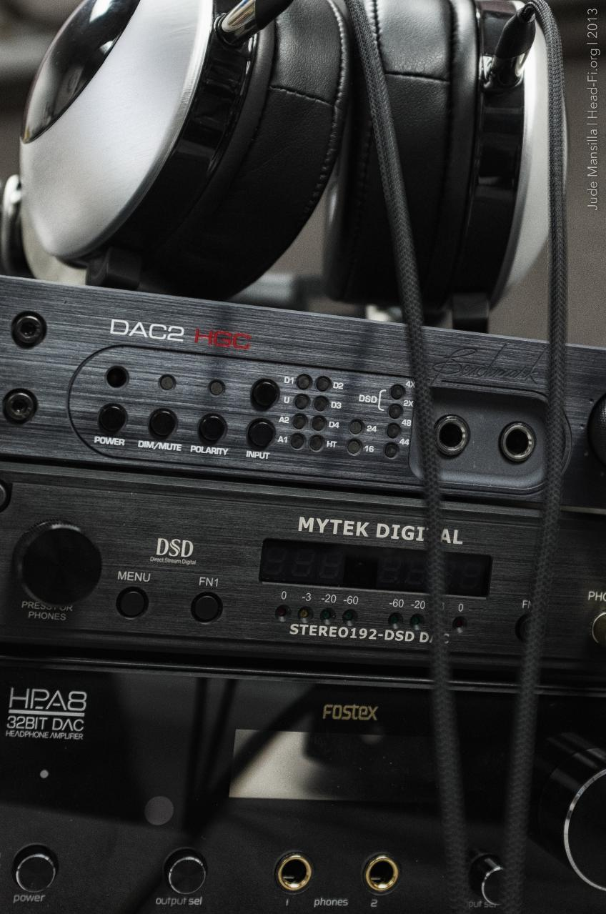 Spider Moonlight Monitor, Benchmark DAC2 HGC, Mytek STEREO192-DSD DAC, and Fostex HP-A8C