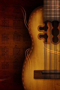 Displays a nice old fashion guitar, the symbol of smooth string sound which is perceptible with...