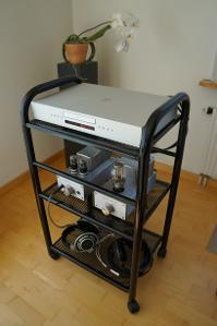 Densen B-410 CD player, Woo Audio WA6SE (Amperex 6EM7, Sophia Princess 274B), Sennheiser HD...