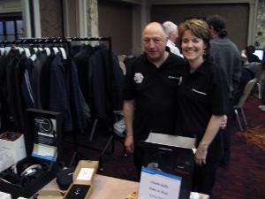 Tim and Lynn of Sennheiser selling tickets - £1,500 was raised for 'Make A Wish'. Superb.