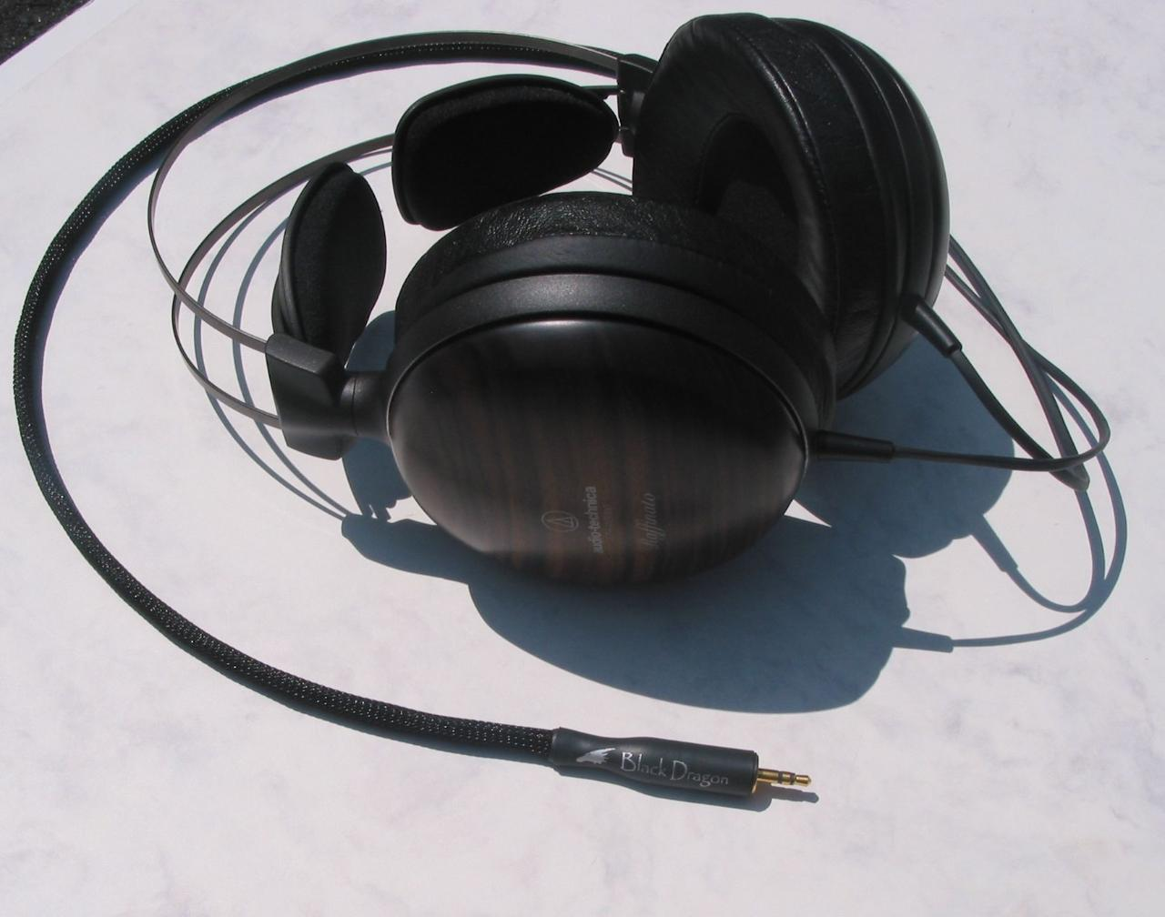 Audio Technica with Moon Audio Black Dragon V1 Headphone Cable - the 'original black dragon...