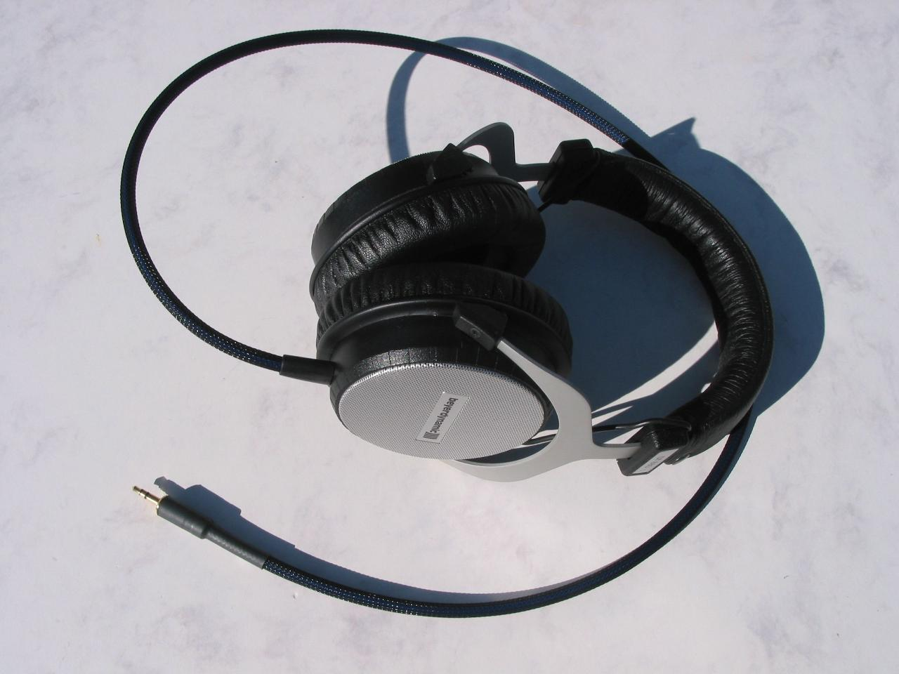 Beyerdynamic DT880 headphones with Moon Audio Blue Dragon V2 Headphone Cable <br />