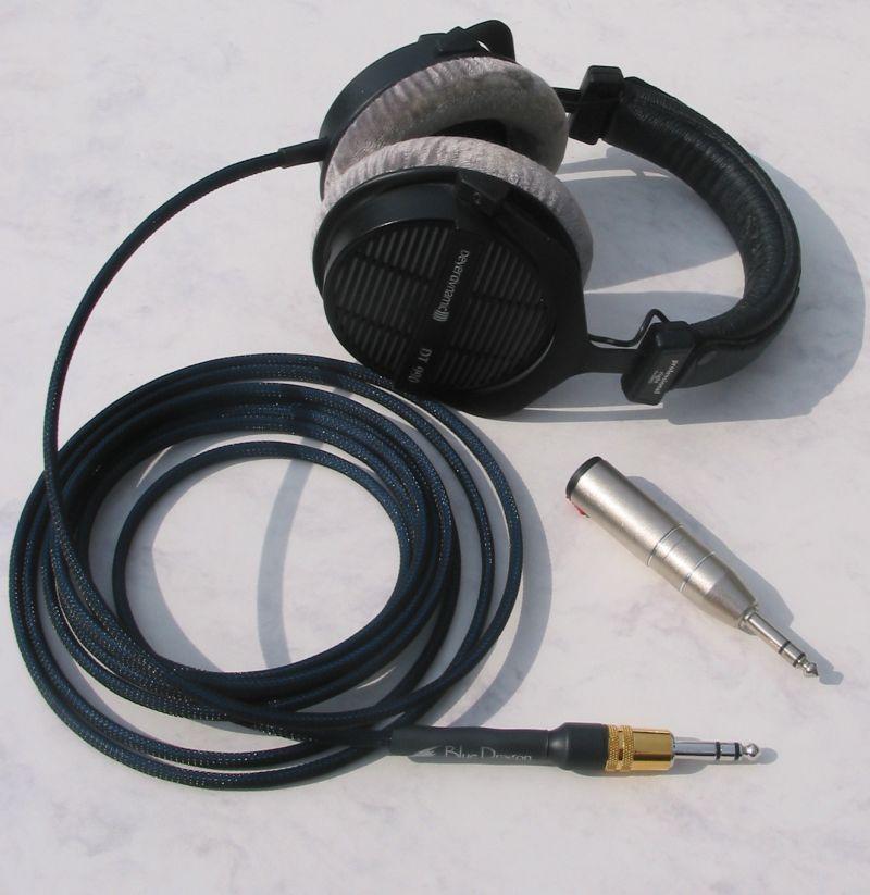 Beyerdynamic DT990 Headphones with Moon Audio Blue Dragon V2 Headphone Cable