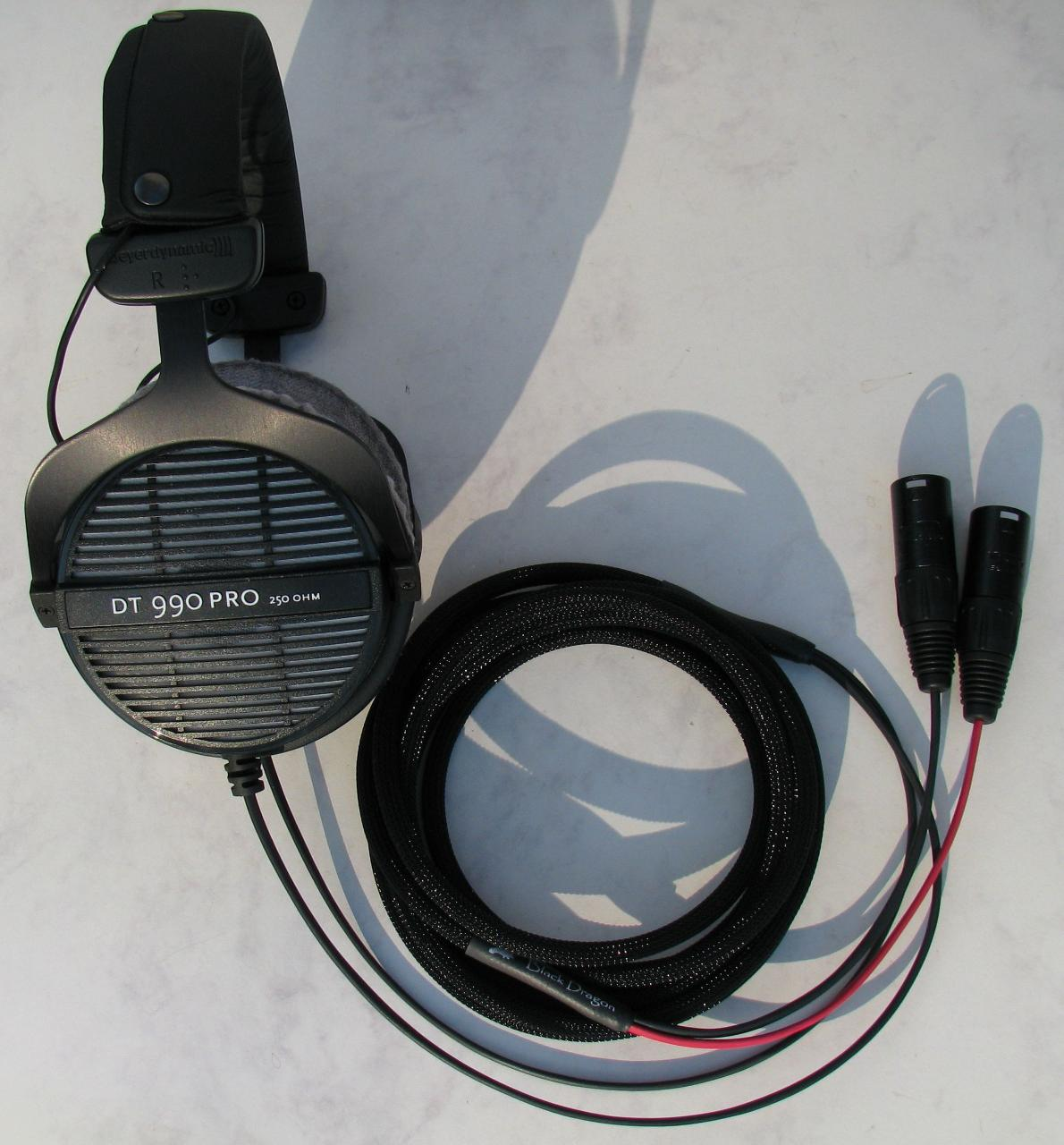 Beyerdynamic DT990 Pro headphones with the Black Dragon V1 Headphone cable - the...