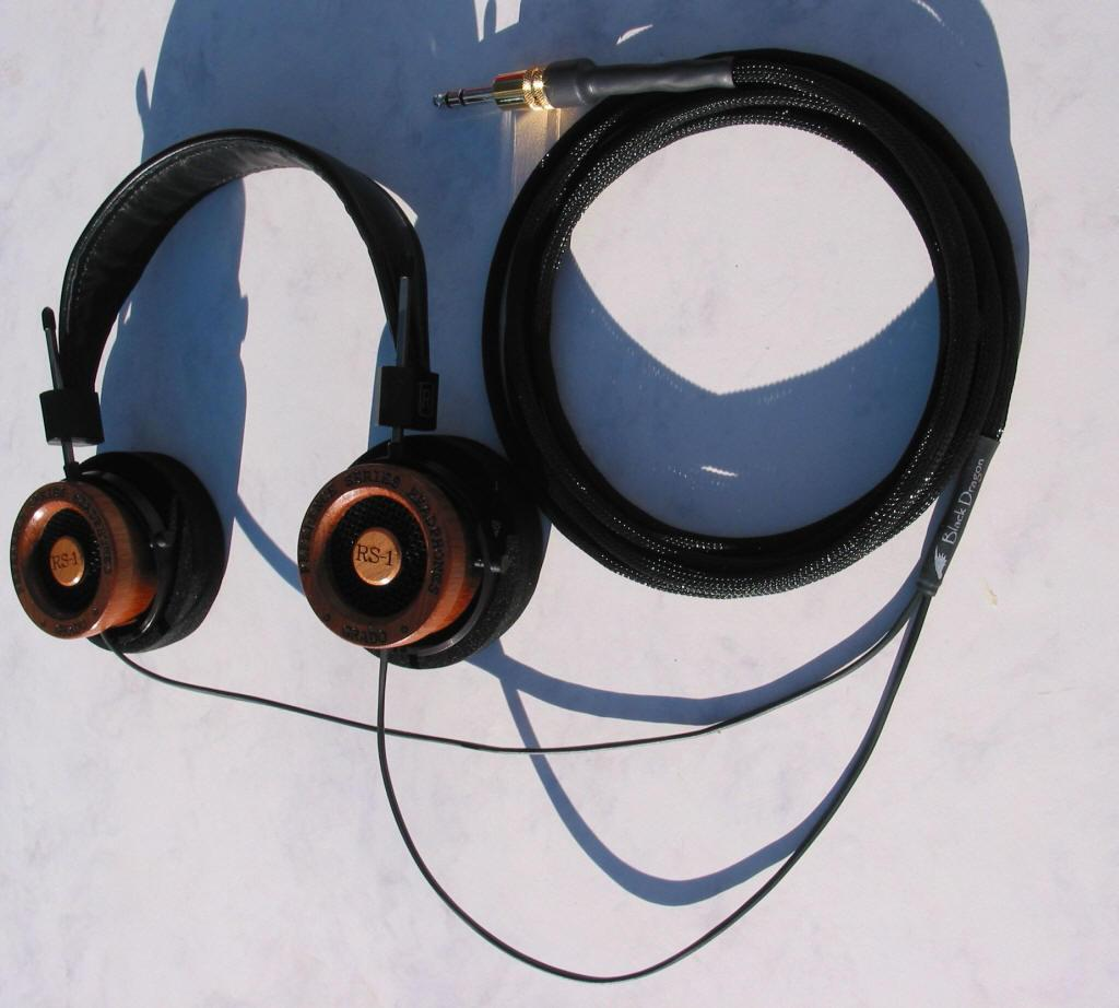 Grado RS-1 headphones with the Moon Audio Black Dragon V1 Headphone Cable - the...