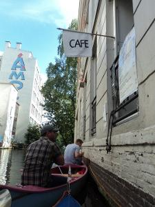 A sweet little cafe and ice cream shop on the canals of Hamburg, famous with locals, serves...