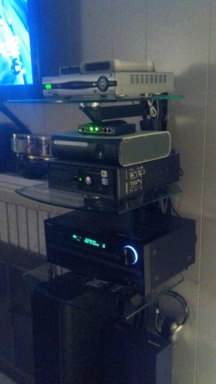A picture of my home audio rig. On the lower rack is my Onkyo TX-NR609 7.2 Ch AVR. On the 2nd...