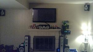 Front and center for the home AV system. Speakers shown with grills off.