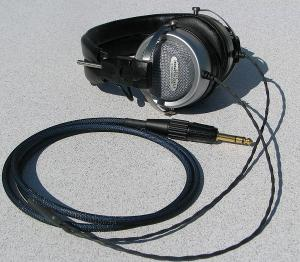 "Modified Audio Technica AT-707 with Cardas Headphone cable w Furutech FP-704 (G) 1/4"" Plug"