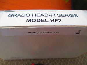 Box and model description of the HF-2 headphones by Grado.